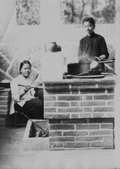 Chinese students cooking, ca. 1940s.