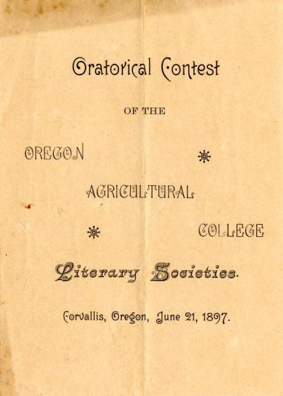 Program created for an oratorial contest sponsored by the OAC literary societies, June 1897.