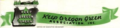 Letterhead of the Keep Oregon Green Association, ca 1940s.