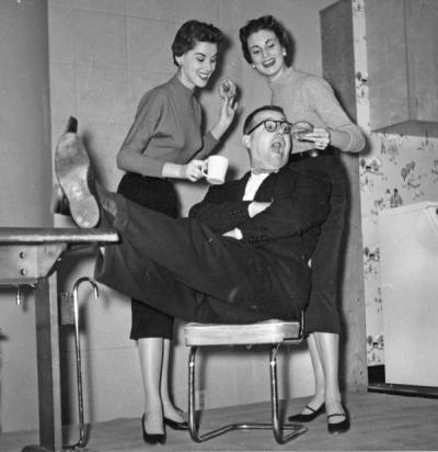Barney Keep with two unidentified women, ca. 1950s. Keep worked with KOAC before becoming a well-known radio personality for Portland's KEX radio station, where he worked from 1944-1979.