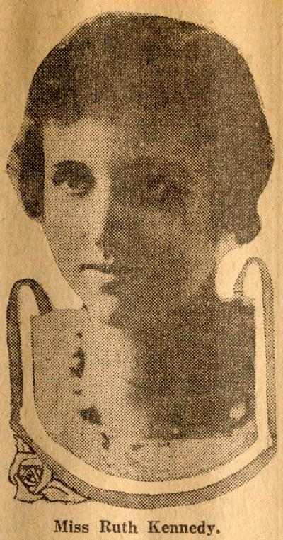 "Image of Ruth Kennedy Tartar included in a newspaper article titled ""Woman Breaks Record in O.A.C Election,"" ca. 1920."