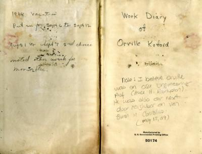 Annotations from title pages of one of Orville Kofoid's journals, ca. 1940s.