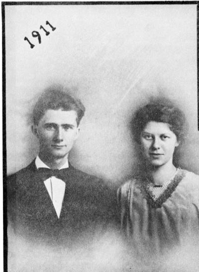 E. B. and Lora Lemon, ca. 1911. Photograph is from a wedding booklet comissioned for their 50th wedding anniversary.