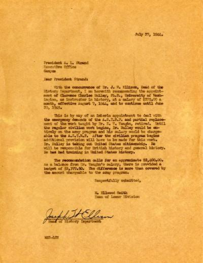 Letter from the Dean of the Lower Division, M. Elwood Smith, to President A. L. Strand concerning the appointment of a new professor of history, July 27, 1944.