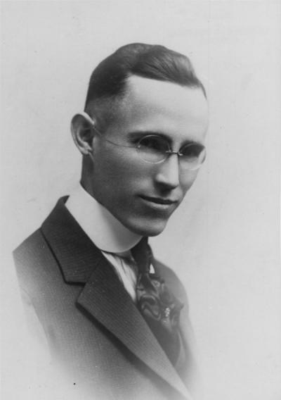 "<p>William Homer Maris, ca 1920s. In 1914 Maris began composing the words to a song that he felt would gather the spirit of Oregon Agricultural College, which became ""Carry Me Back,"" the College's alma mater. In 1918 Maris</p><p>				dedicated the piece to ""Mother Kidder"" the much-loved College librarian. Maris earned an M.S. degree in Agriculture from O. A. C. that same year. He died in 1933 in a bicycle accident.</p>"