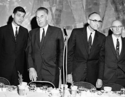 Head table at the Fernhopper banquet, February 1959. Left to Right: Governor Mark Hatfield, Secretary Ervin L. Peterson, Dean W. F. McCulloch, Dean E. B. Lemon.