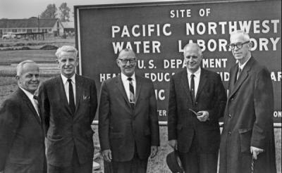 Pacific Northwest Water Laboratory Dedication, 1960s. From left: Dale Mallicoat, Fred Merryfield, Cy Everts, James H. Jensen, A. L. Strand.