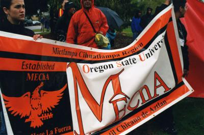 Demonstraton marchers with the OSU MEChA banner, March 2004.
