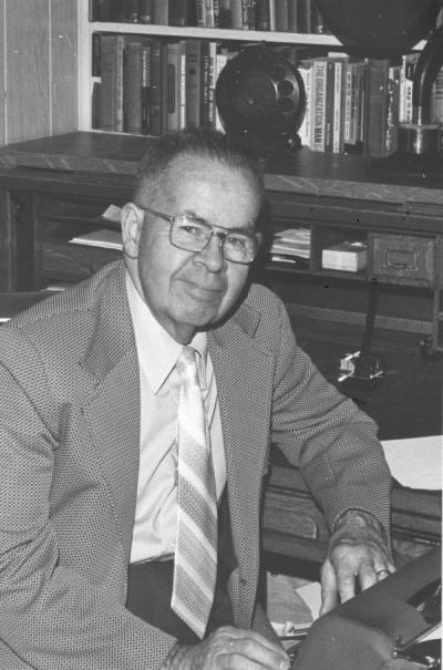 "<p>James M. Morris, 1972. Morris received a degree in Electrical Engineering from Oregon Agricultural College in 1928 and wrote ""The Remembered Years"" with KOAC. He became a full-time producer and announcer for KOAC in 1932</p><p>				and served as the Program Director from 1945-1963. Morris retired in 1972.</p>"