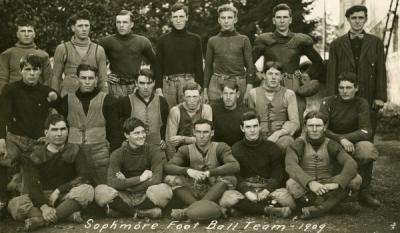 "Postcard depicting the OAC sophomore football team, 1909. Postcard is annotated: ""I tried out for a short time, but some bumps and bruises put me out of competition. W.E.M."""