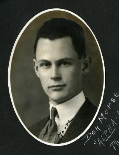 "Donald Morse, 1921. Image is annotated: ""Donald Morse-'Alpha-Kappa-Psi' Theta Chapter, May-23-1921, O. A. C."""