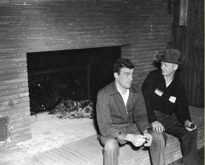 <p>Marv Rowley and Harry Nettleton, ca 1950s. Nettleton was an instructor for the Forestry department. Rowley received a degree in Forestry in 1950 and became Benton County's timber manager. He also helped rebuild the</p><p>				Forestry Club Cabin after it burned to the ground in February of 1949. Rowley received the OSU Outstanding Alumnus Award in 2003.</p>
