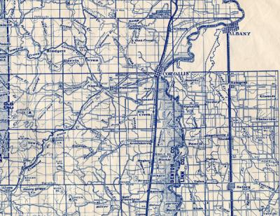 Segment of the Polk-Benton District map published by the Oregon State Board of Forestry, 1948.