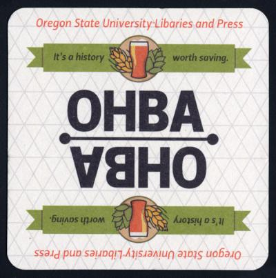 Oregon Hops and Brewing Archives promotional coaster, created 2014.