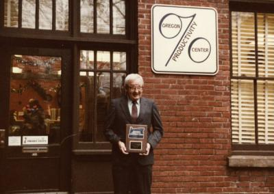 An unidentified individual at the OPC Governor's Award presentation, December 14, 1983.