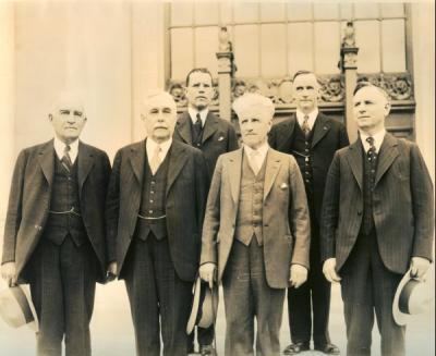 Members of the first State Board of Higher Education, October 1929. Front row, left to right: Albert Burch, E. C. Pease, B. F. Irvine, C. L. Starr. Back row: Aubrey Watzek and Herman Oliver.
