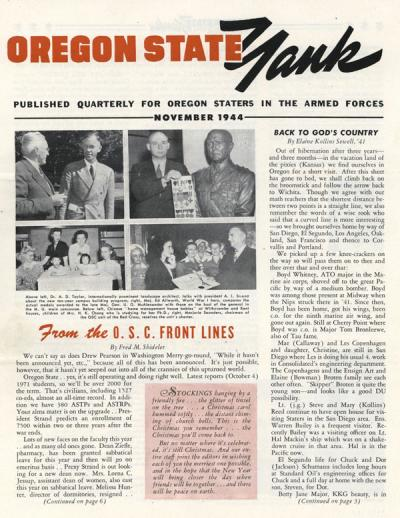Cover page of the Oregon State Yank, November 1944.