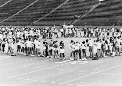 "The Parker Stadium ""kiss-in"" was one of the most popular fund-raising events of the year. Ca. 1970s."