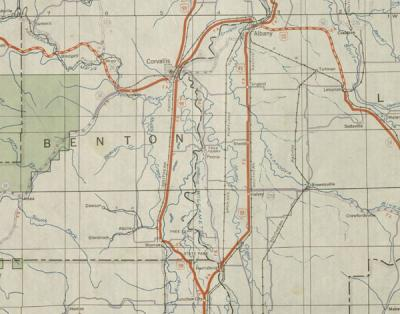 Segment of a transportation map depicting the Mid-Willamette Valley, 1940.
