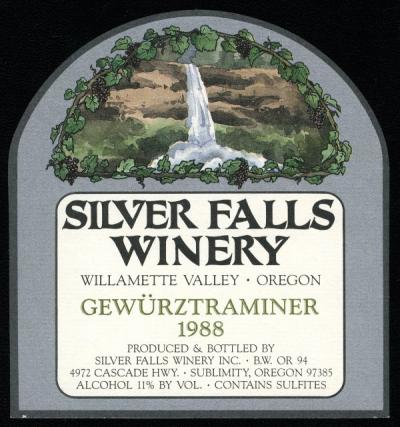 Bottle label from the Silver Falls Winery, ca. 1988.