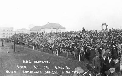 OAC rooters at the 1914 OAC-UO football game. The game ended in a 3-3 tie.