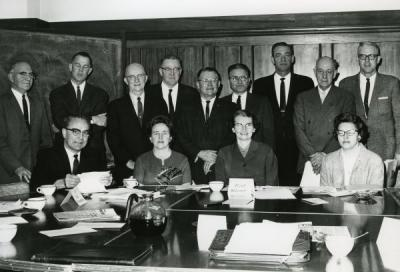 University Relations Committee, February 1962. Barbara Peck is seated, second from left.