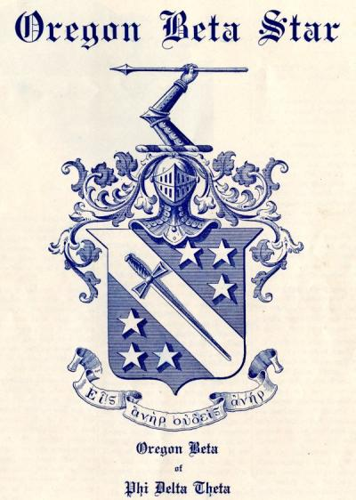 Phi Delta Theta crest, extracted from the Oregon Beta Star newsletter, Fall 1922.
