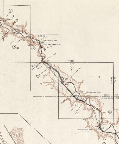 Detail from Plan and Profile Map of Luckiamute River, Hoskins to Mile 10, Oregon Dam Sites. 1938.