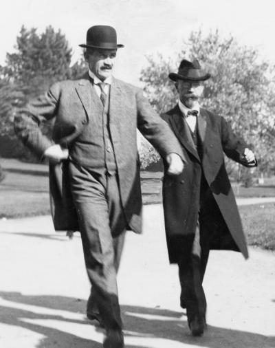 William Jasper Kerr with Lincoln Steffins, October 1913. Kerr was the president of Oregon State College from 1907-1932. Steffins was speaker at the College Convocation, October 22, 1913.