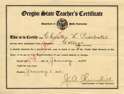 Teaching certificate issued to Chester Proebstel, January 8, 1920.