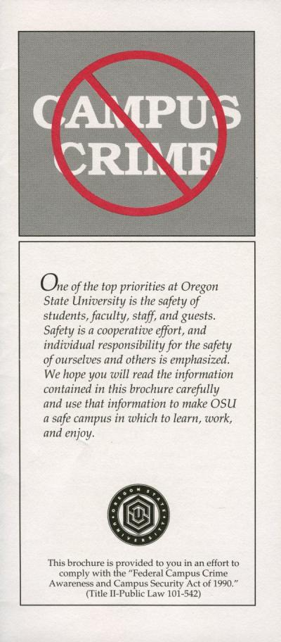 Cover of an OSU Public Safety brochure, 1993.