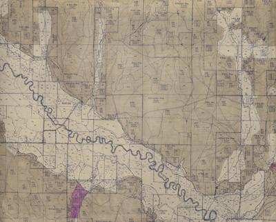 Detail of a range survey for the Keating Soil Conservation District, Lower Powder River, Baker County, Oregon. Ca. 1940.