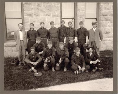 <p>The 1910 Baseball team, champions of the Northwest. During the season the OAC team played Whitman College, the University of Idaho, Washington State College, the University of Washington, and the University of Oregon. The</p><p>				team line-up was Otto Moore, catcher; Lawrence Keene, pitcher; George Rieben, pitcher; Harry Cooper, first base; Mervin Horton, second base; Clifford Reed, third base; Ray Poff, left field and team captain; Walter Keck,</p><p>				center field; Emil Carrol, right field; Wren Crews, short stop, V.P. Gianella, manager; Fielder Jones, coach.</p>