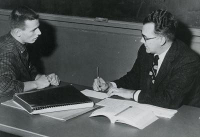 Dr. William W. Mills with a student, November 1974.