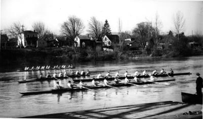 The crew team on the Willamette River, 1935.