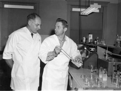 Roy Wilfred Stein and William E. Sandine, junior bacteriologist, transfering raw milk to a petri dish where milk will be sealed and incubated, ca. 1960s.