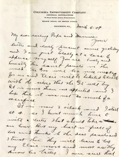 Letter from Edgar Raymond Shepard to his parents, March 1907.