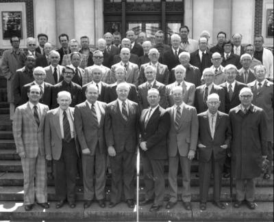 Fiftieth anniversary celebration of the Triad Club, April 1976. Pete Smith stands second row, far left.