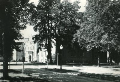 A view of Waldo Hall from the northeast, ca 1960s.