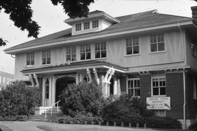 "Shepard Hall, 1960s. Entryway reads KBVR; to the right is a sign reading ""Oregon State University Speech and Hearing clinic."""