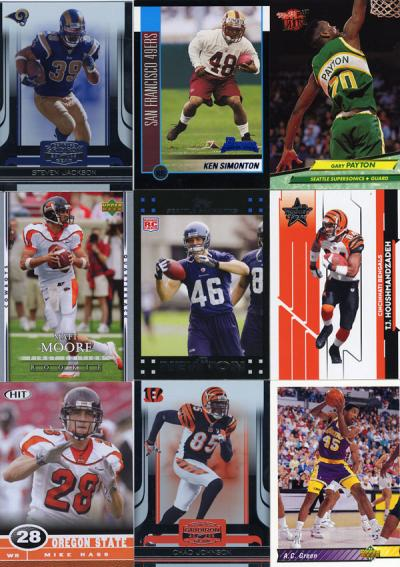 Sports trading cards for nine former Beaver athletes.