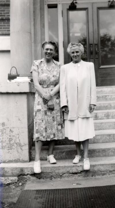 Clara Storvick and Margaret Fincke, 1948. Fincke became the head of the Foods and Nutrition department in 1944, and served as Acting Dean from 1948-1949 and 1963-1965.