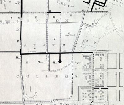 Street surface map of the Oregon State College campus, Corvallis, Oregon. 1939.