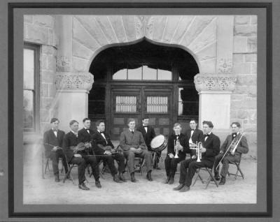 The 1907 OAC Orchestra. Marcus Struve is seated with a violin, front row, second from left.