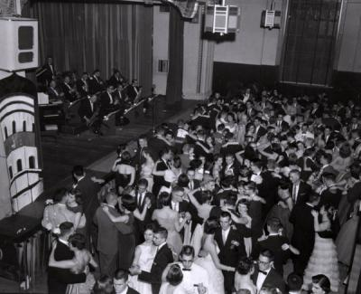 Formal dance held in the Memorial Union Ballroom, 1958.