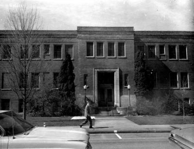 Plageman Student Health Center, ca. 1966. In 1936, the Plageman Infirmary was constructed. It still houses Student Health Services.