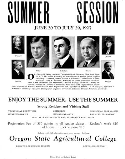 Poster advertising various educators available for the 1927 summer session at OAC. Knute Rockne taught a coaches clinic.