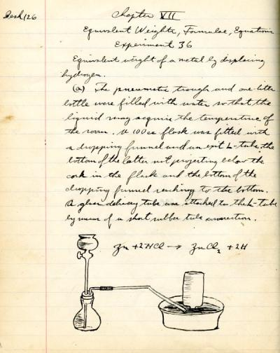 A page from Frank Sutherland's chemistry lab notebook, 1912-1913.