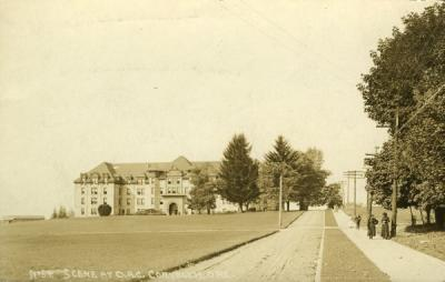 Postcard image of the OAC campus looking west toward Waldo Hall, ca 1910s.