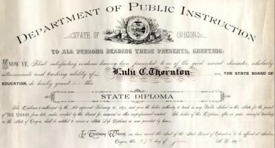 Diploma awarded to Lulu Thornton by the Department of Public Instruction, 1895.